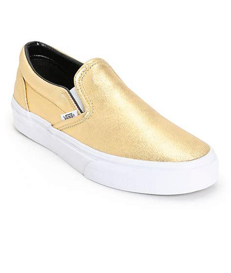 gold slip on sneakers vans classic gold metallic slip on shoes zumiez