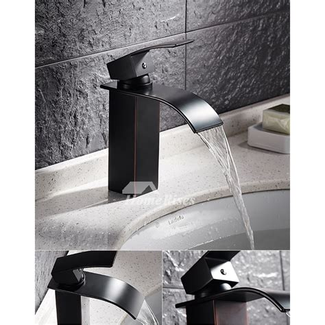 designer oil rubbed bronze industrial bathroom faucet waterfall black