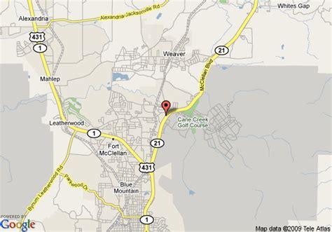 mcclellan texas map map of mcclellan inn anniston anniston