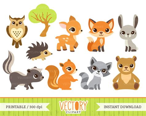 clip animals forest clipart woodland animal pencil and in color