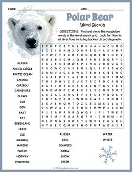 polar bears word search  puzzles  print tpt