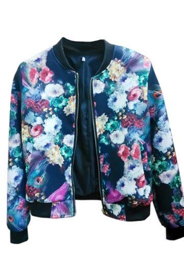Jacket Flowers Import black fashion sleeve flower printed jacket