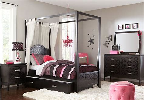 teenager bedroom sets belle noir dark merlot 6 pc full canopy bedroom 1 379