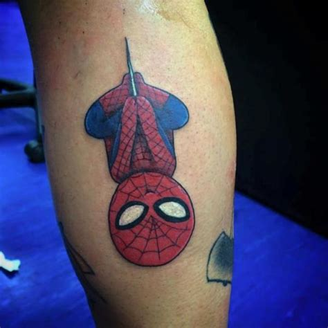calf character spiderman tattoo by alex heart