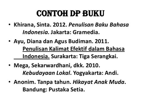 penulisan daftar pustaka bahasa indonesia daftar pustaka