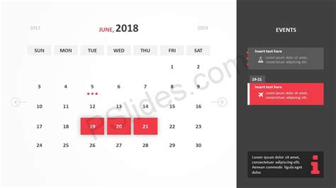 Free 2018 Calendar Powerpoint Template Pslides Powerpoint Calendar Template 2018