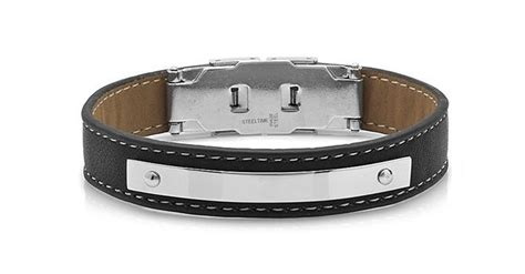 Hermitage Steel plated Leather Men's Bracelet