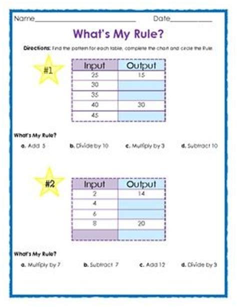 algebraic pattern rule finder free what s my rule input and output tables 4 pages 1