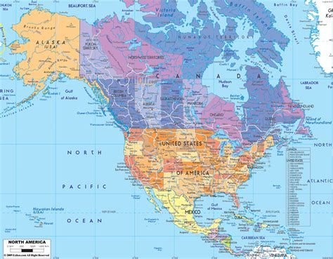 american map america political map of america pacific atlantic oceans