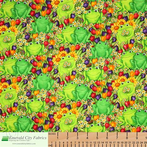 timeless treasures frogs in the garden green fabric