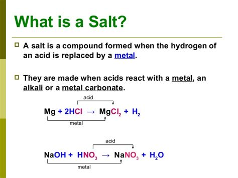 what are salt ls used for chemistry salts