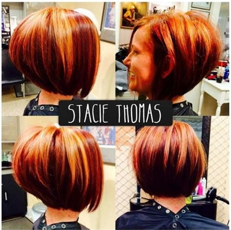 stacked bobs unique dye stacked and layered bob hairstyle in shades of red with