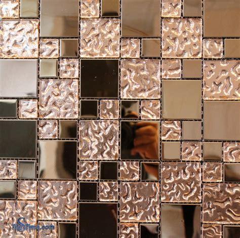 copper glass mosaic tile 2 x2 1 x1 tilestime