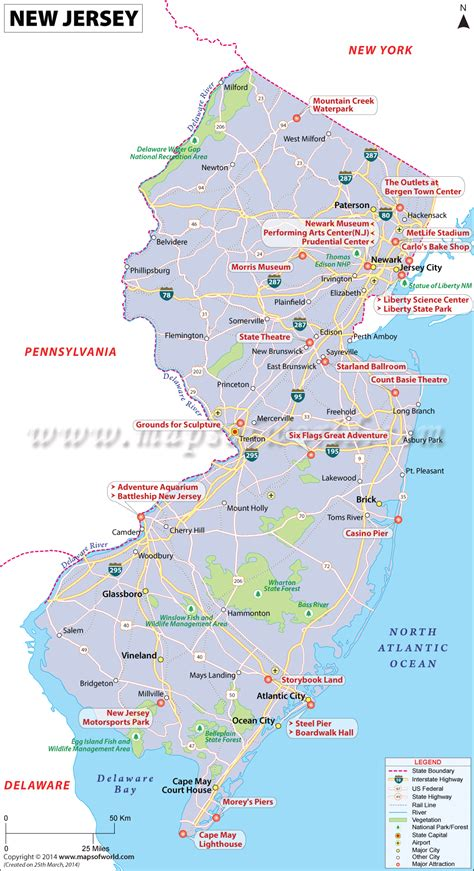map new jersey new jersey map showing the major travel attractions including cities points of interest and