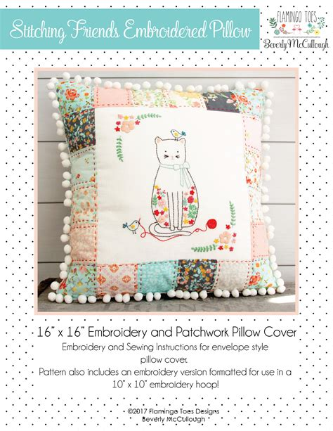 Patchwork And Stitching - stitching friends embroidered patchwork pillow pattern