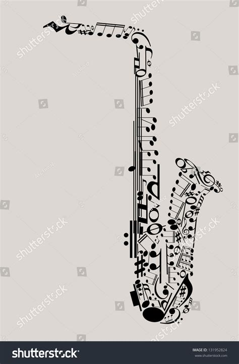jazz music saxophone made musical symbols stock vector