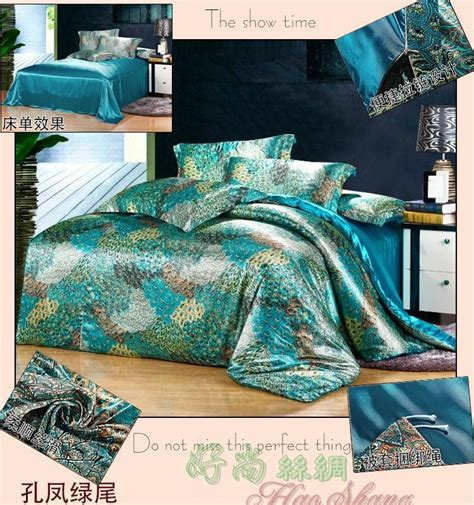 peacock feather comforter set mulberry silk blue green peacock feather print bedding set
