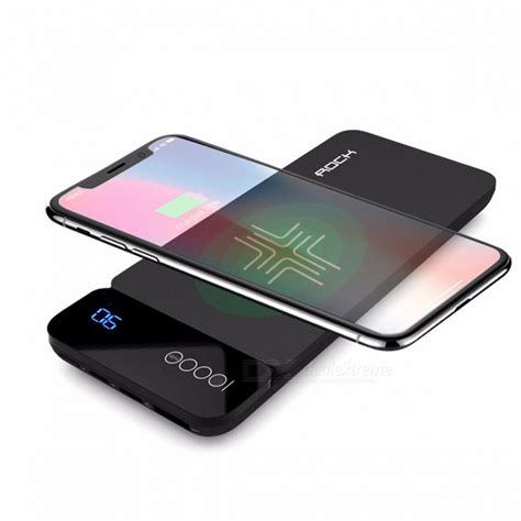 Kabel Power Bank High Sped Magnetik 20cm rock qi wireless charger 8000mah power bank with digital display 5v 2a 5w external battery