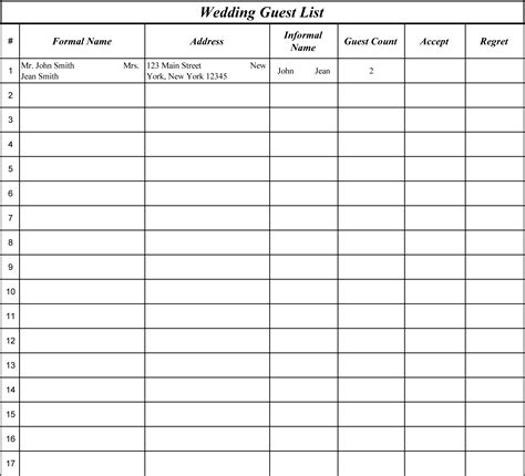 downloadable wedding guest list template hondenrassen