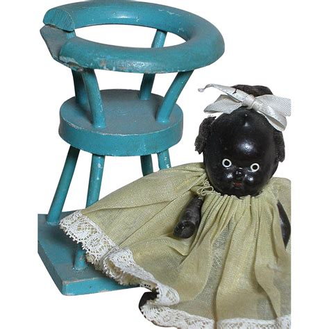 bisque black doll black bisque dollhouse doll japan dressed black baby