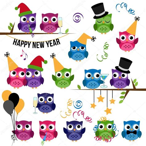 new year clip set vector set of new year s celebration themed owls stock