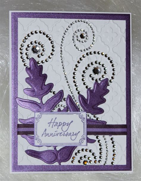 make an anniversary card embossed anniversary card with rhinestone swirls