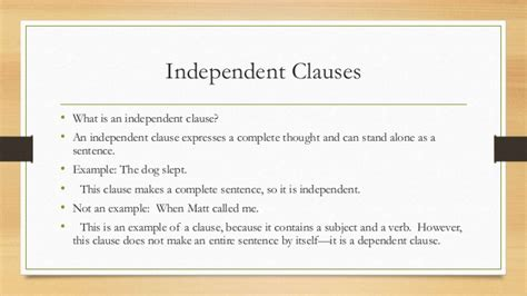 exle of independent clause what is a clause