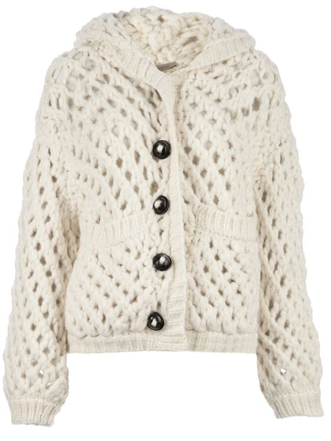 lyst maison ullens chunky knit cardigan in white