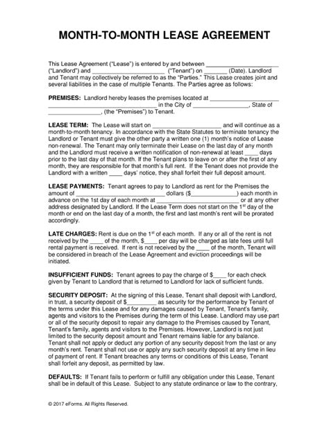 month to month rental agreement template free month to month residential lease agreements pdf