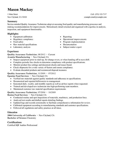 entry level quality assurance resume sles quality assurance resume exles created by pros