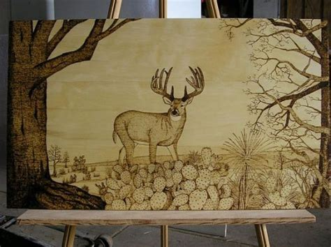 finished whitetail wood burning wood