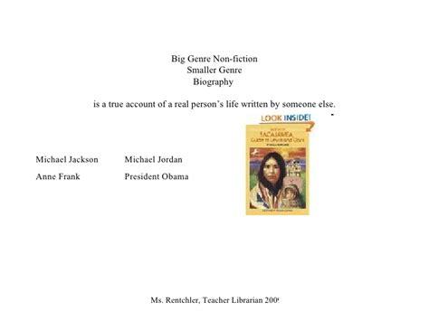 biography genre powerpoint genres powerpoint rentchler 2009
