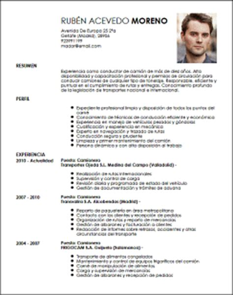 Modelo Curriculum Vitae Chofer Modelo Cv Camionero Livecareer