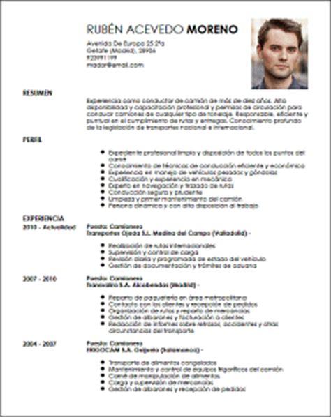 Modelo Curriculum Vitae De Un Conductor Modelo Cv Camionero Livecareer