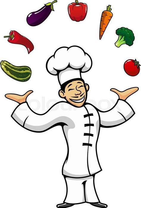 cartoon joyful asian chef juggling  broccoli  peppers
