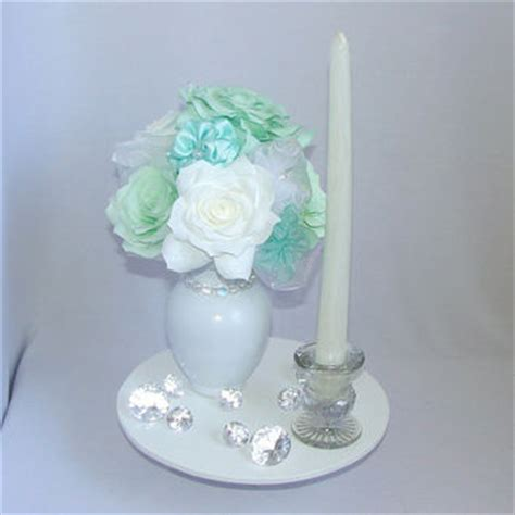mint green centerpiece white bridal from centertwine