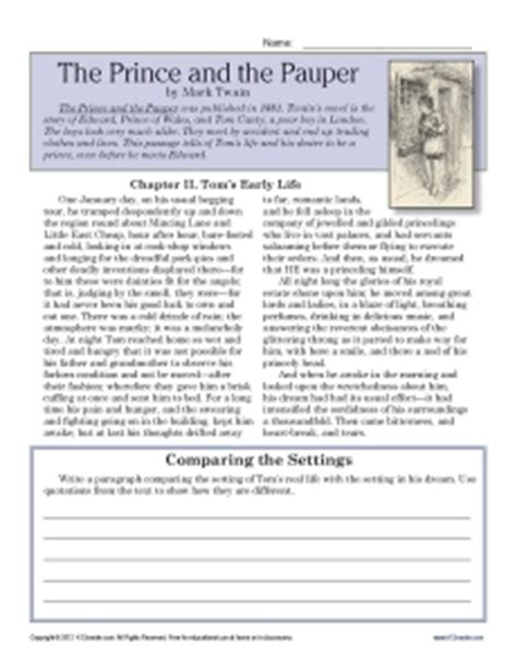 Free Printable 7th Grade Reading Comprehension Worksheets the prince and the pauper 7th grade reading