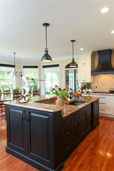 traditional kitchen with prep island and pendant lighting black pendant light granite and islands on pinterest