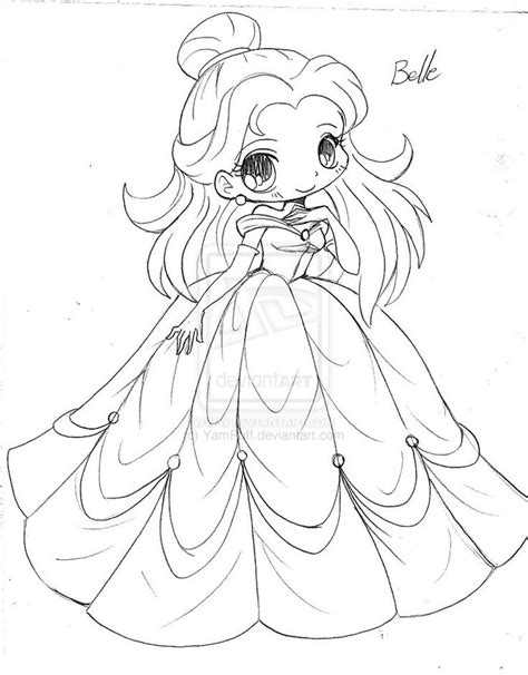 Chibi Princess Coloring Pages | chibi princess belle beauty and the beast coloring pages