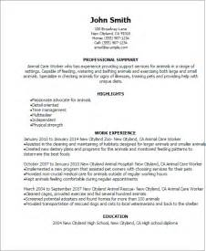 Animal Care Specialist Sle Resume by Professional Animal Care Worker Templates To Showcase Your Talent Myperfectresume