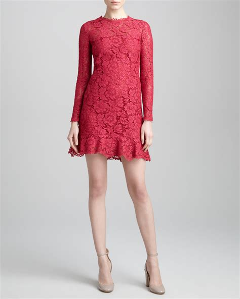 sleeve floral hem dress valentino ruffle hem sleeve lace dress cassis in