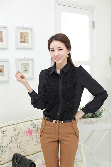 Baju Atasan Kemeja Kerja Blouse Wanita Korea Import Merah Hitam Putih baju kemeja wanita untuk kerja kantor shopashop