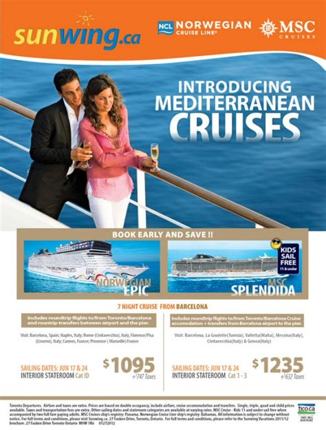 sunwing free seat selection sunwing announces new mediterranean cruises from barcelona