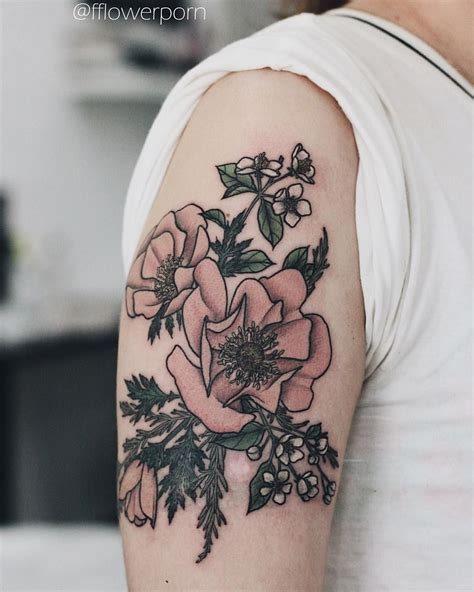 rosemary tattoo anemones apple blossoms and rosemary ink