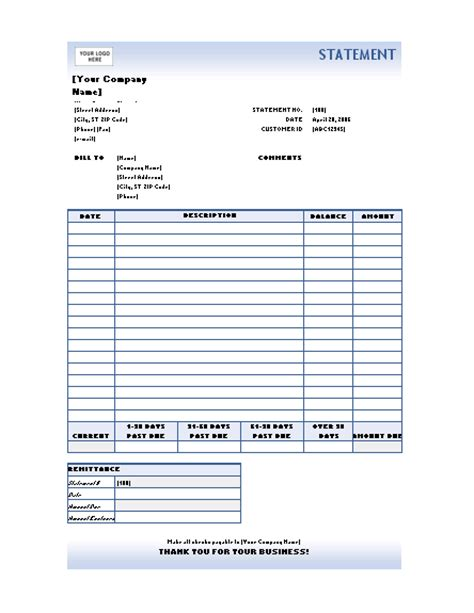 billing statement template free monthly invoice statement template gallery