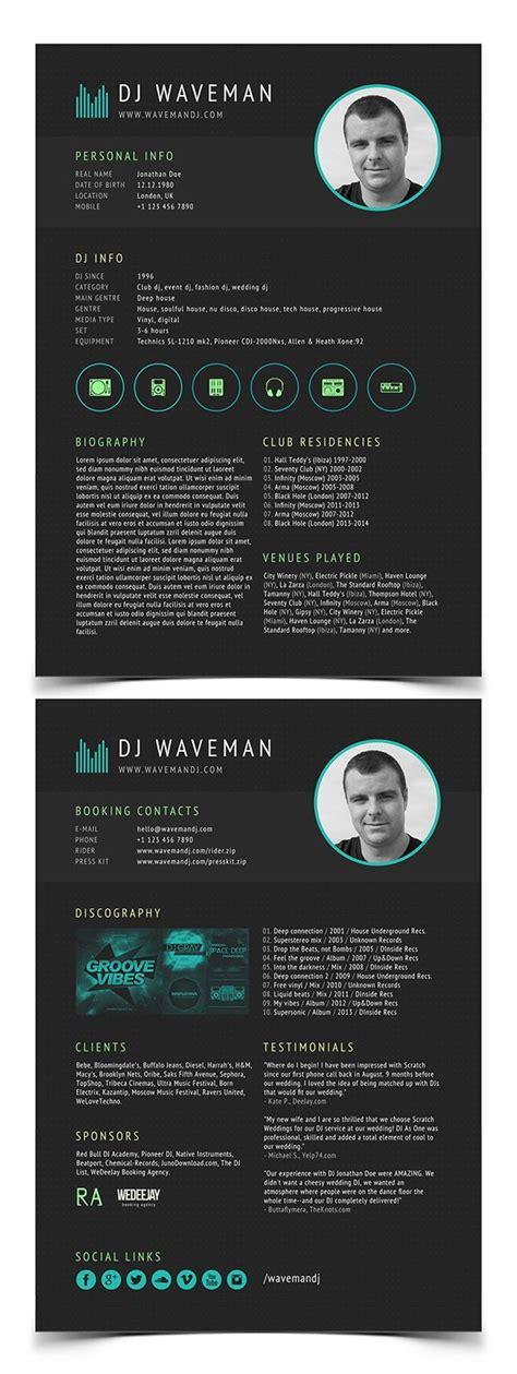 Dj Resume Template Design Ideas Pinterest Resume Templates Resume And Templates Dj Template