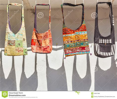 Handmade Purses For Sale - handmade bags on sale for tourists in india stock photo