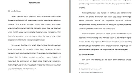 makalah rencana format pendokumentasian makalah pengantar manajemen tentang perencanaan contoh