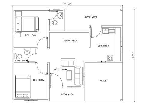 modern house floor plans free two bed room modern house plan dwg net cad blocks and house plans