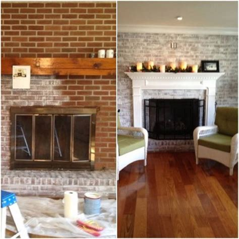 Small Bedroom Makeover living room whitewashed brick fireplace white washed